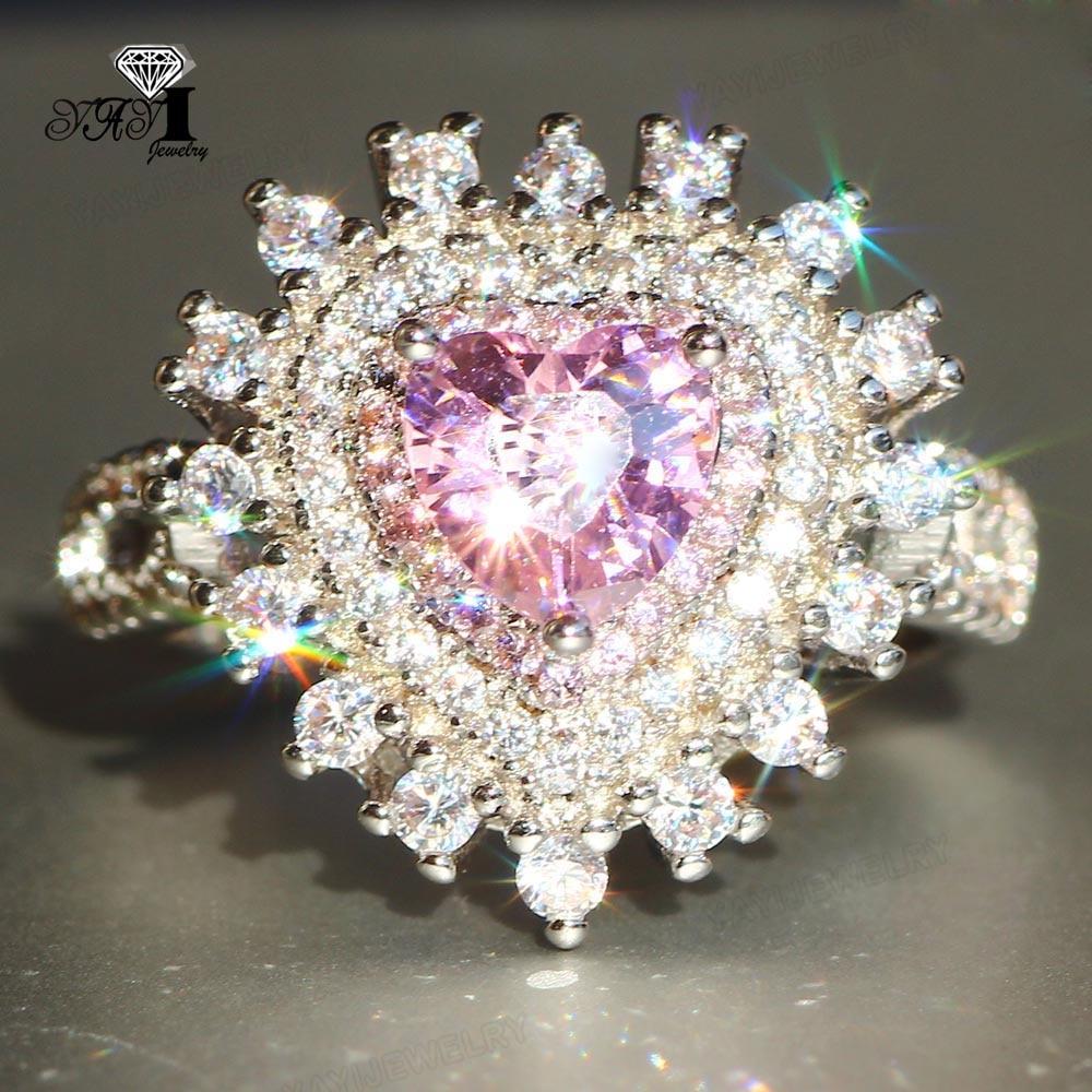 Joyería YaYI corte princesa 7 CT Zircon Rosa Color plata anillos de compromiso anillos de corazón para boda chicas fiesta regalos del anillo 959