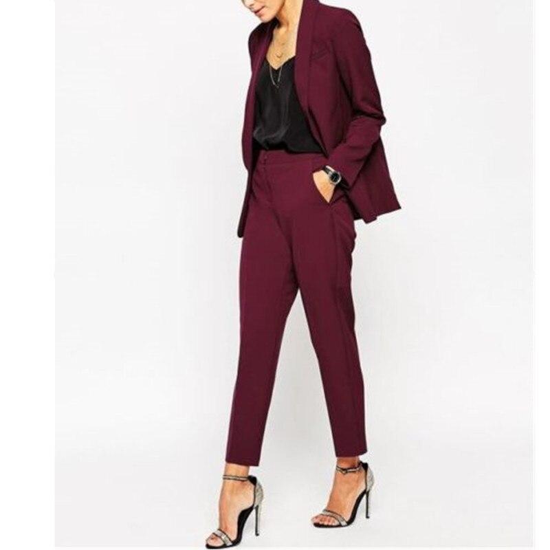 Костюм женский, бордовый, формальный, на заказ, куртка + брюки, смокинги, Новое поступление