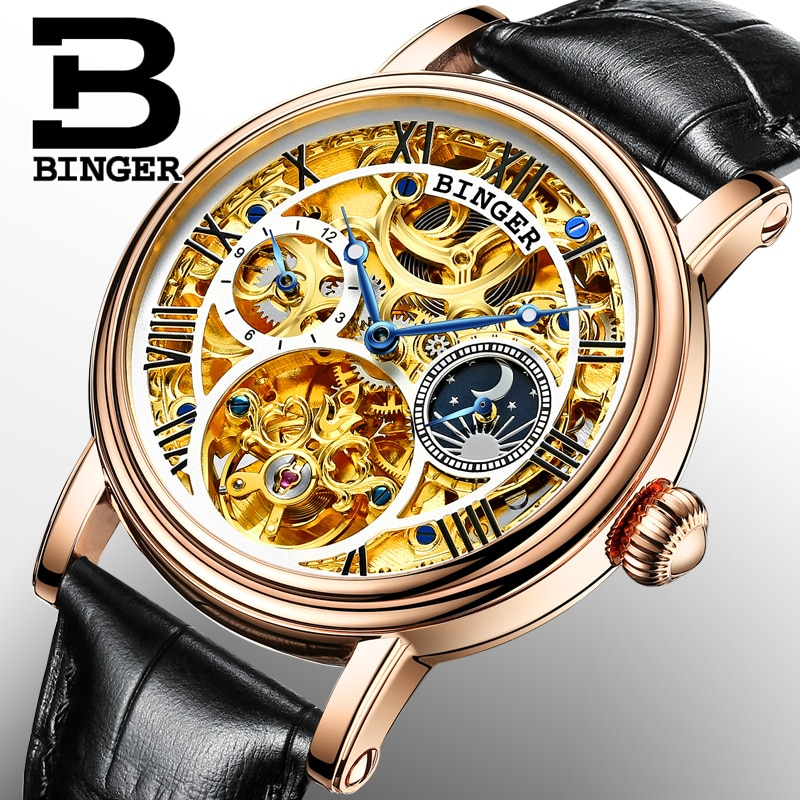 Switzerland BINGER men's watch luxury brand Tourbillon Relogio Masculino water resistant Mechanical clock B-1171-2
