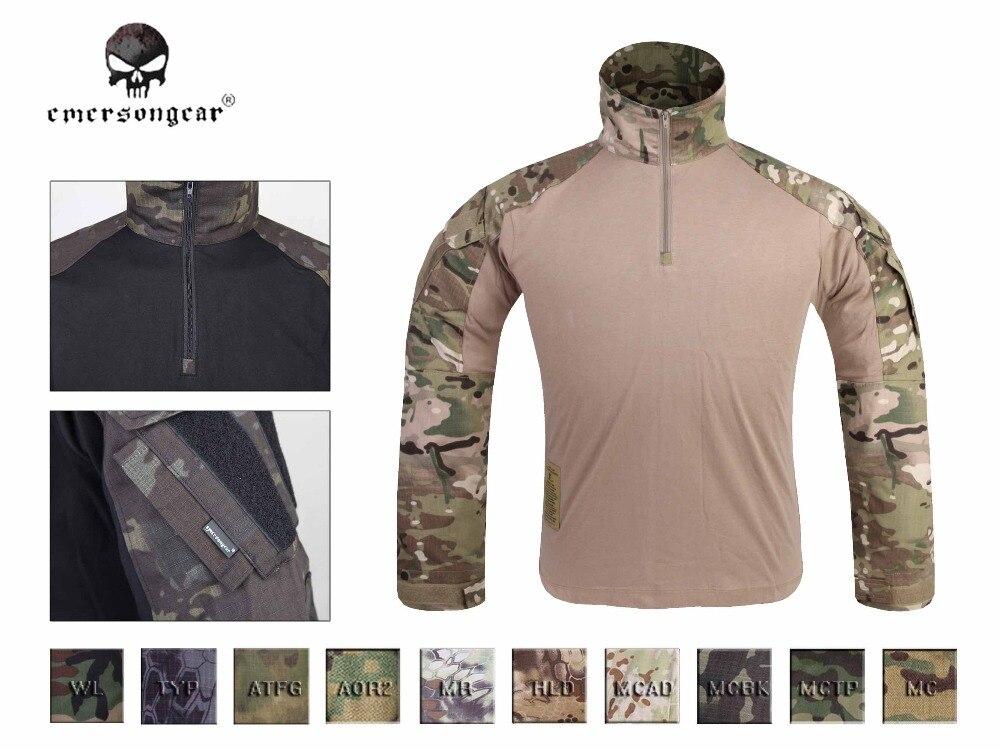 Camiseta de combate Emersong GEN3, ropa táctica Airsoft para caza, camiseta de camuflaje militar, camiseta multicolor negra