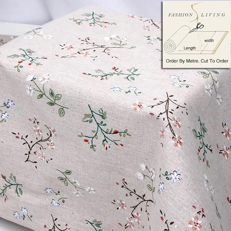 150cm de ancho flores silvestres Gardenia flores algodón Lino crema tela Lino tela Base tela para costura DIY paño artesanal por SewCrane