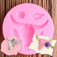 Bull Head Silicone Mold Leaf Rose Flower Fondant Mallen Cupcake Decoreren Gereedschappen Polymeer Klei Mal Chocolade Snoep Gumpaste Tool