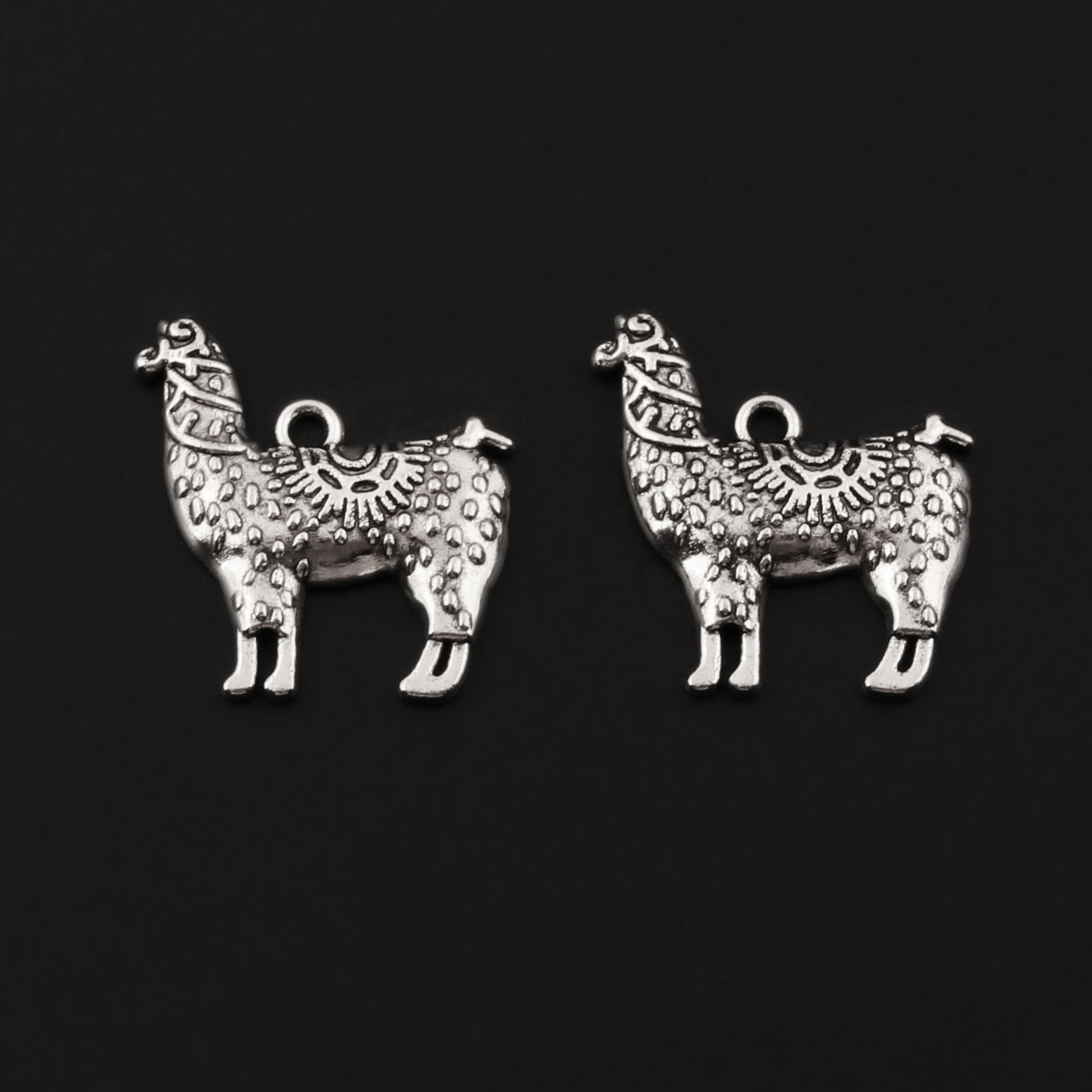 Encantos de caballo de césped de alpaca de Color plateado 20 uds, fabricación de Colgante Animal DIY hecha a mano, joyería artesanal 23x26mm A83