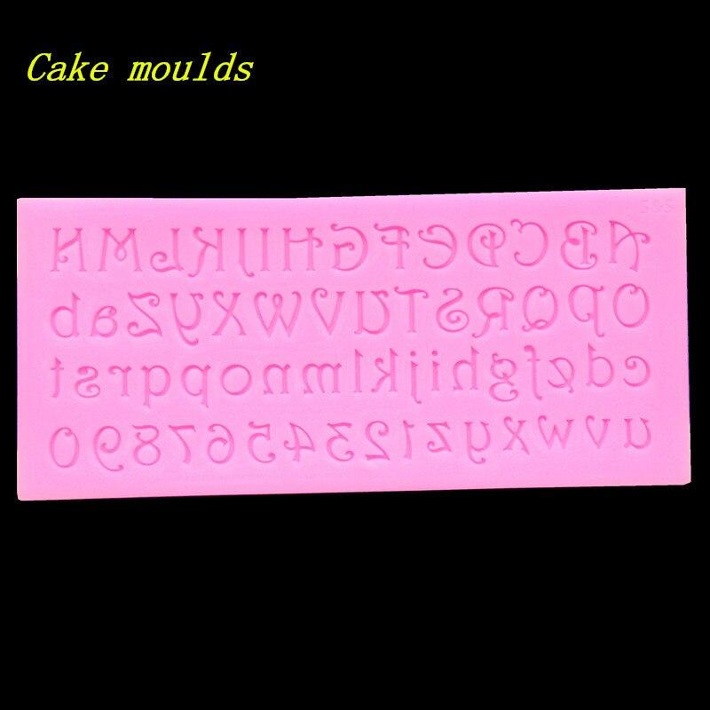 ¡Venta al por mayor! molde de silicona K321 Uppercase y letras minúsculas molde de galletas para hornear molde de pastel de Fondant para dercoración
