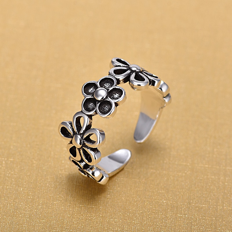 2018 New Arrivals Retro Thai 925 Sterling Silver Open Flower Rings for Women Ring Fashion Jewelry