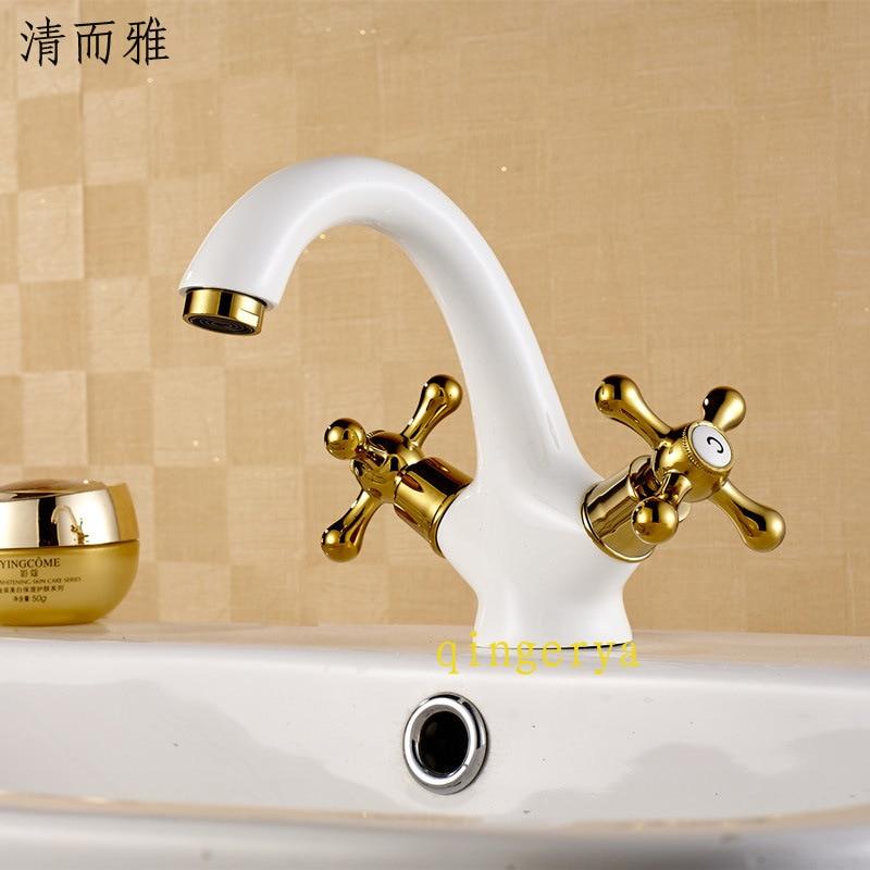O novo europeus grande cobre antigo banhado a ouro bacia torneira lavatório pintura branca grelhada torneiras quente e fria Universal