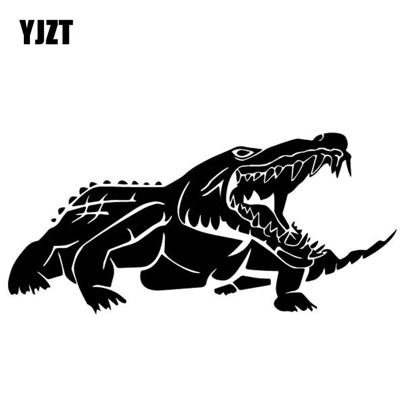 YJZT 17.7 CENTÍMETROS * 8.2 CENTÍMETROS Cruel Crocodilo Decorar Acessórios Do Carro Adesivo de Vinil Decalque Preto/Prata C4-1423