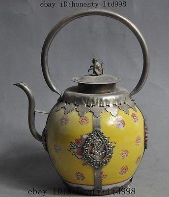 Decoración de casa artesanías china fengshui mono dragón Fénix porcelana mosaico Tíbet plata tetera herramientas boda latón