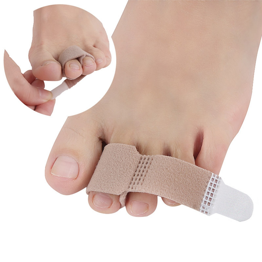 2PC Fabric Toe Finger Straightener Hammer Toe Hallux Valgus Corrector Bandage Toe Separator Splint W