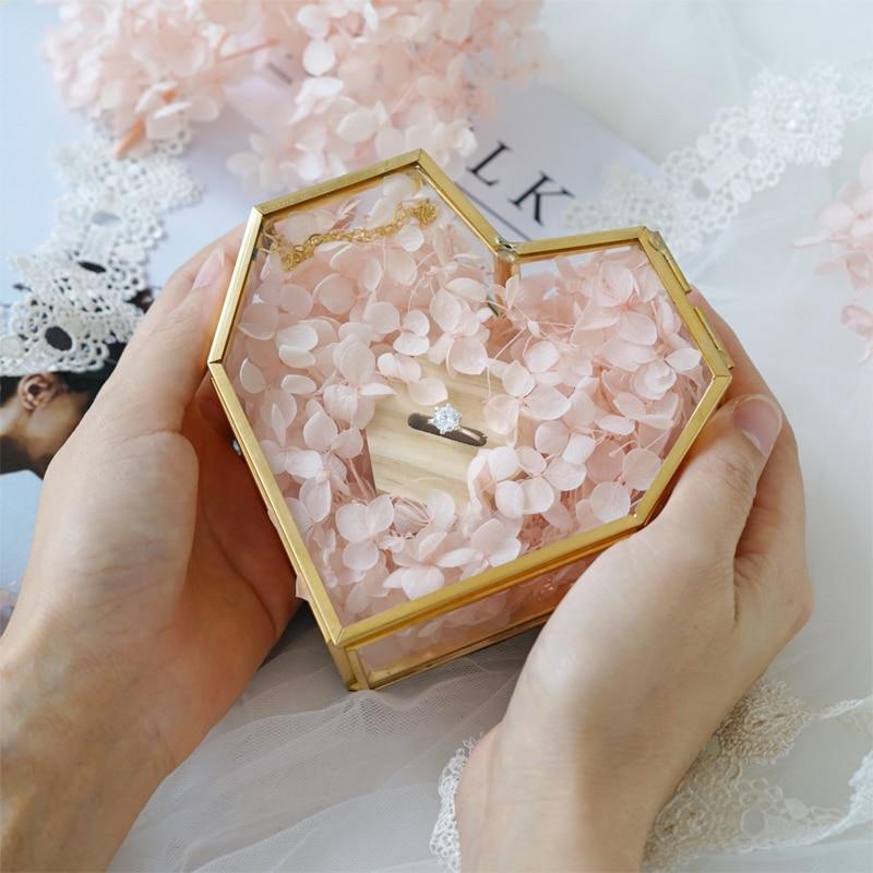 Refinado recuerdos de boda de corazón únicos caja de anillo geométrica caja de joyería de flores anillo portador almohada para decoraciones de boda
