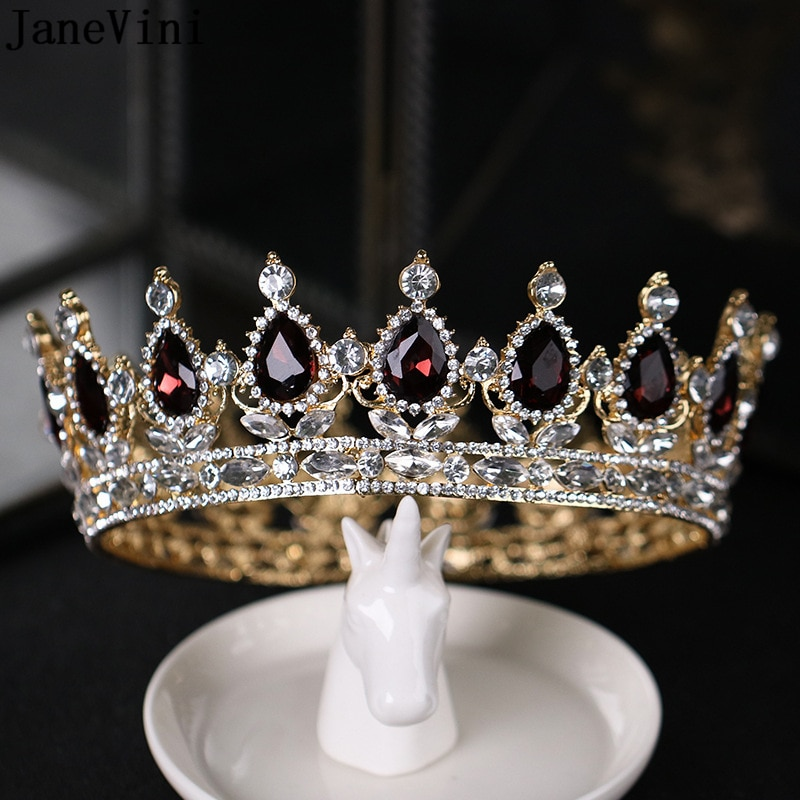 Janevini 2018 luxuoso borgonha completa redonda tiara casamento coroas princesa pageant headpieces nupcial strass acessórios de cabelo