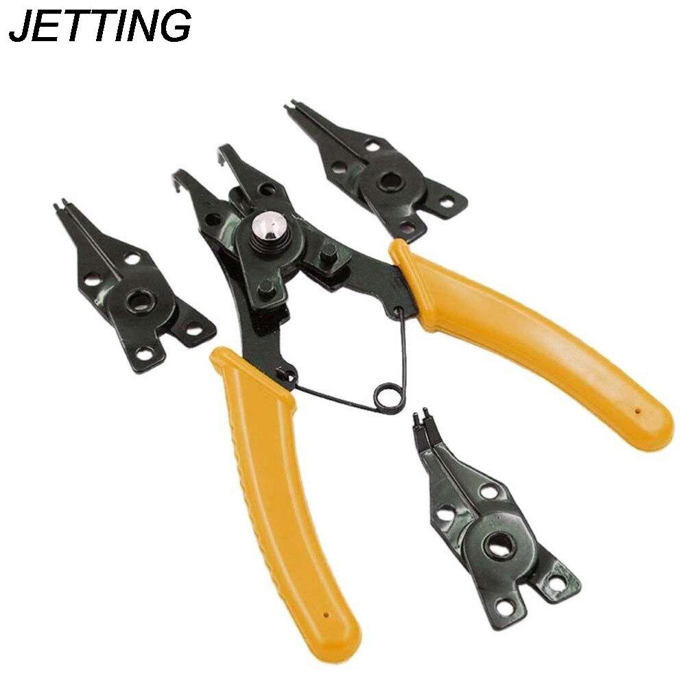 1 Juego de alicates multifunción JETTING, 4 puntas en una, alicates con anillo de presión con clip en forma de E, juego de anillos, herramientas de mano, 2 colores