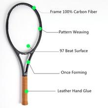 Nero in Fibra di Carbonio Racchetta Da Tennis Dimensioni della Testa 97 sq. in. Peso 340g Dimensione del Manico 4 1/4, 4 3/8, 4 1/2 con il sacchetto