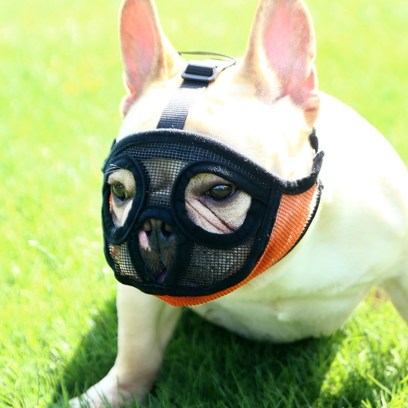 Hoopet mascota perro pequeño Bulldog francés hozzle perro canasta de ratón bozal transpirable para perros Anti ladrar morder bozales para perros