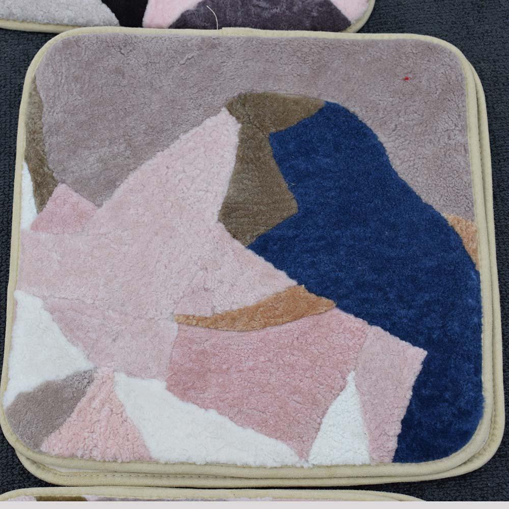 Cojín MS. Softex de piel de oveja, cojín de piel Natural de colores aleatorios, Cojín cuadrado para asiento Patchwork