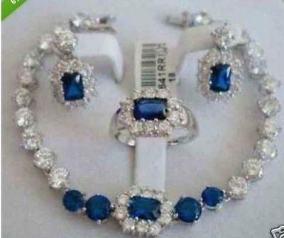 Envío Gratis, conjunto de joyería para mujeres, anillo de pendiente de pulsera de jade azul> reloj plateado, venta al por mayor, piedra de cuarzo CZ cristal