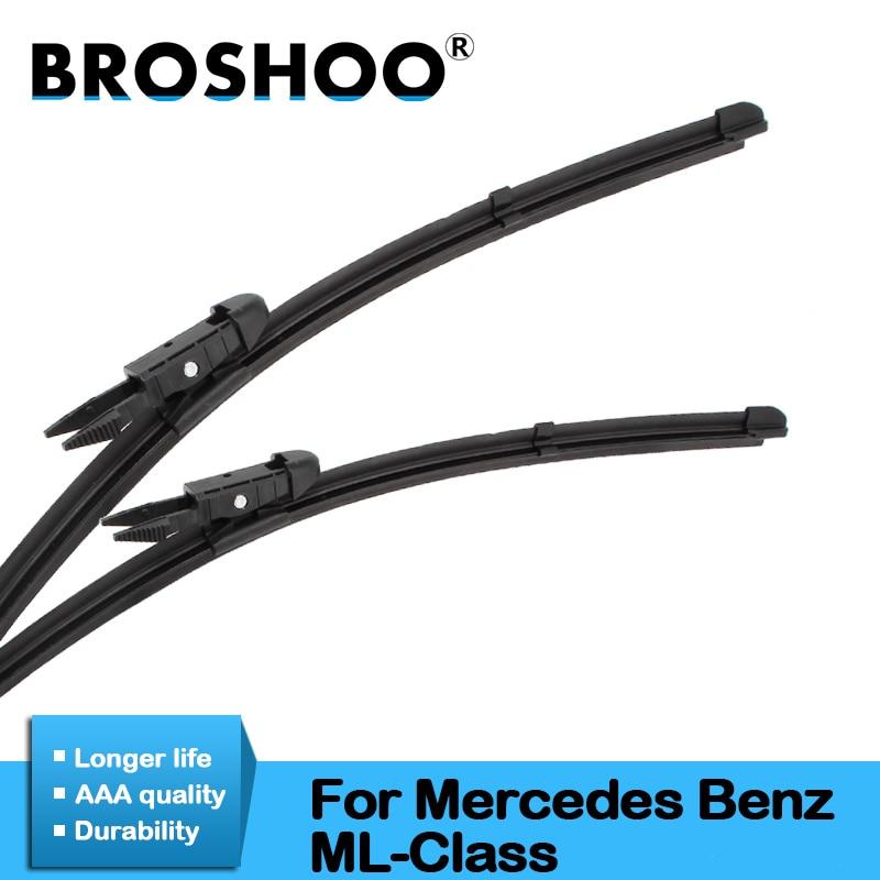 BROSHOO escobilla limpiaparabrisas de coche de goma para Mercedes Benz ML clase W164 W166 ML63 ML300 ML350 Ajuste de lengüeta/pulsador brazos 2005 a 2016