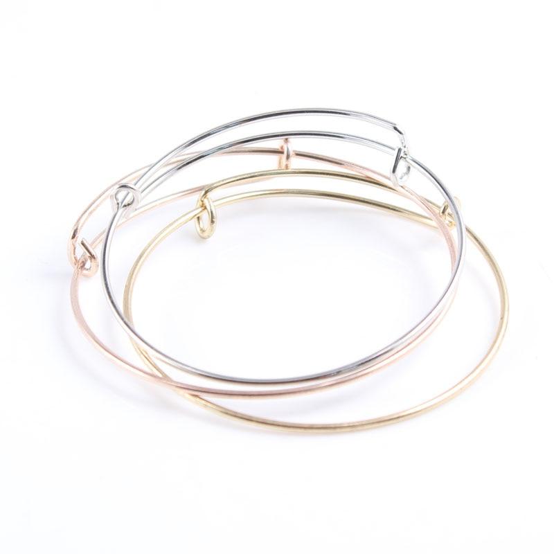 Brazalete expandible de 30 Uds. De 1,5mm de grosor, pulsera de alambre Simple para abalorios o dijes, brazalete expandible de oro rosa plateado, pulseras de Metal