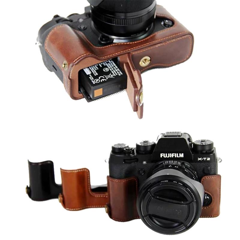 New Pu Leather Camera Case Half Bag  For FujiFilm XT2 XT3 FUJI X-T2 X-T3 Camera Video Half Bag Professional bottom cover