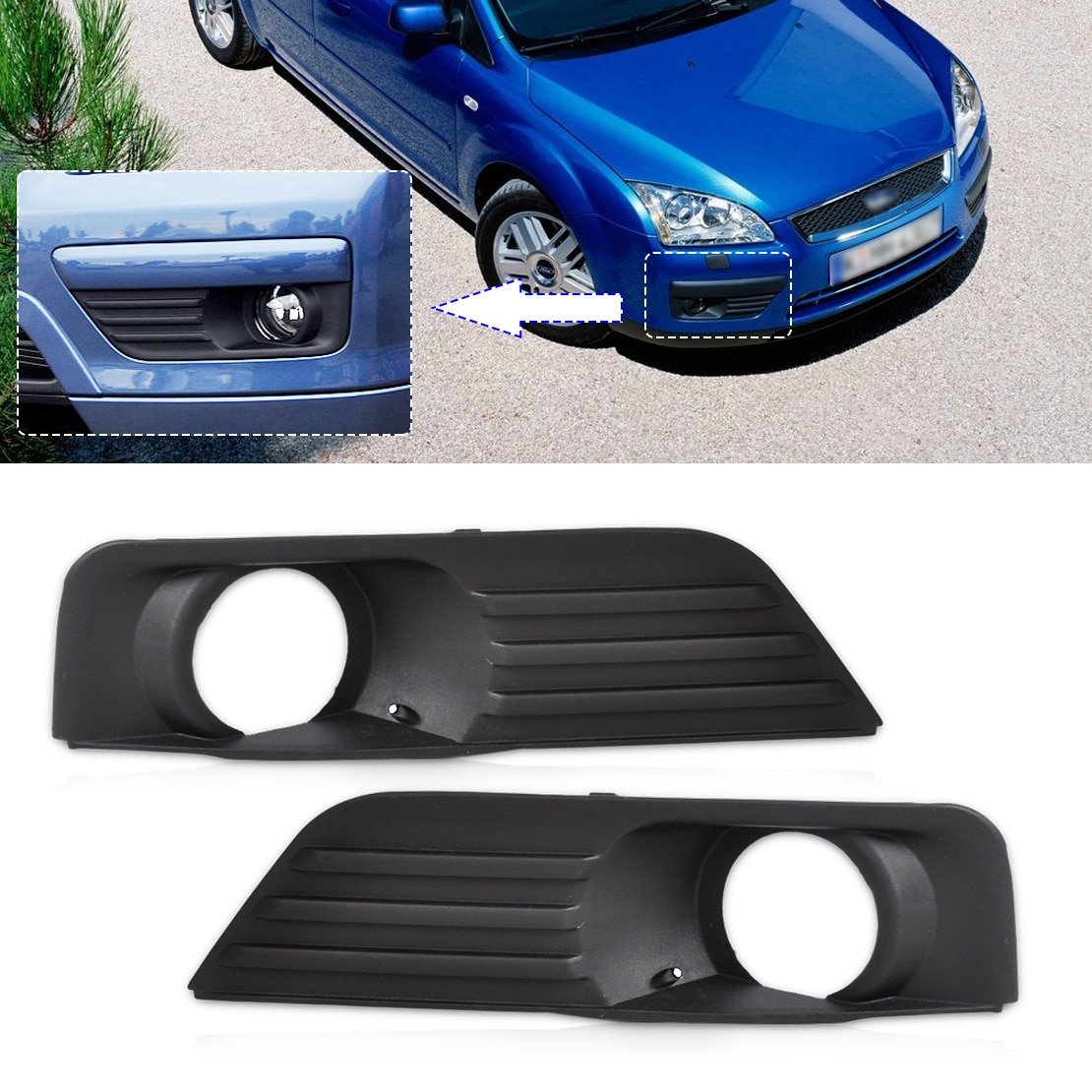 DWCX 4M51-19952-A 4M51-19953-A parte delantera inferior izquierda y para parachoques derecho luz antiniebla lámpara rejilla para Ford Focus 2004 2005 2006 2007 2008
