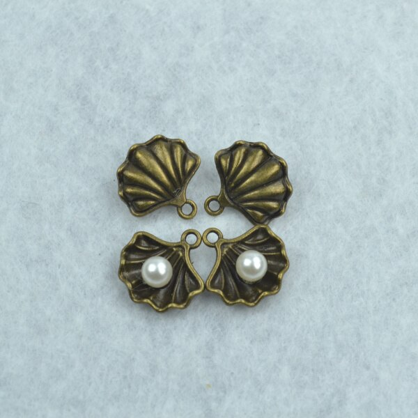 20 pcs ABS pérola shell encantos antique bronze pingentes fit diy colar pulseira de metal encantos para a Jóia fazendo 1790