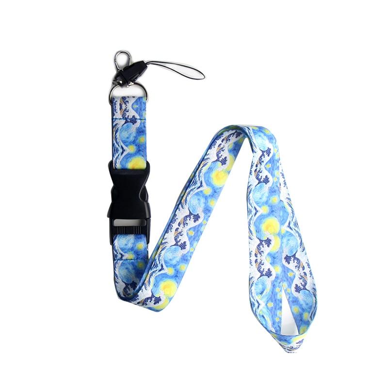 K124 Van Gogh Starry Sky Kanagawa Wave lanyards ID badge holder keychain ID Card Pass Gym Mobile Badge Holder Lanyard key holder
