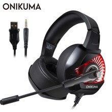 Onikuma 게임용 헤드셋 casque pc 게이머 저음 스테레오 헤드폰 (ps4 게임 패드 용 마이크 포함) new xbox one 컴퓨터 노트북