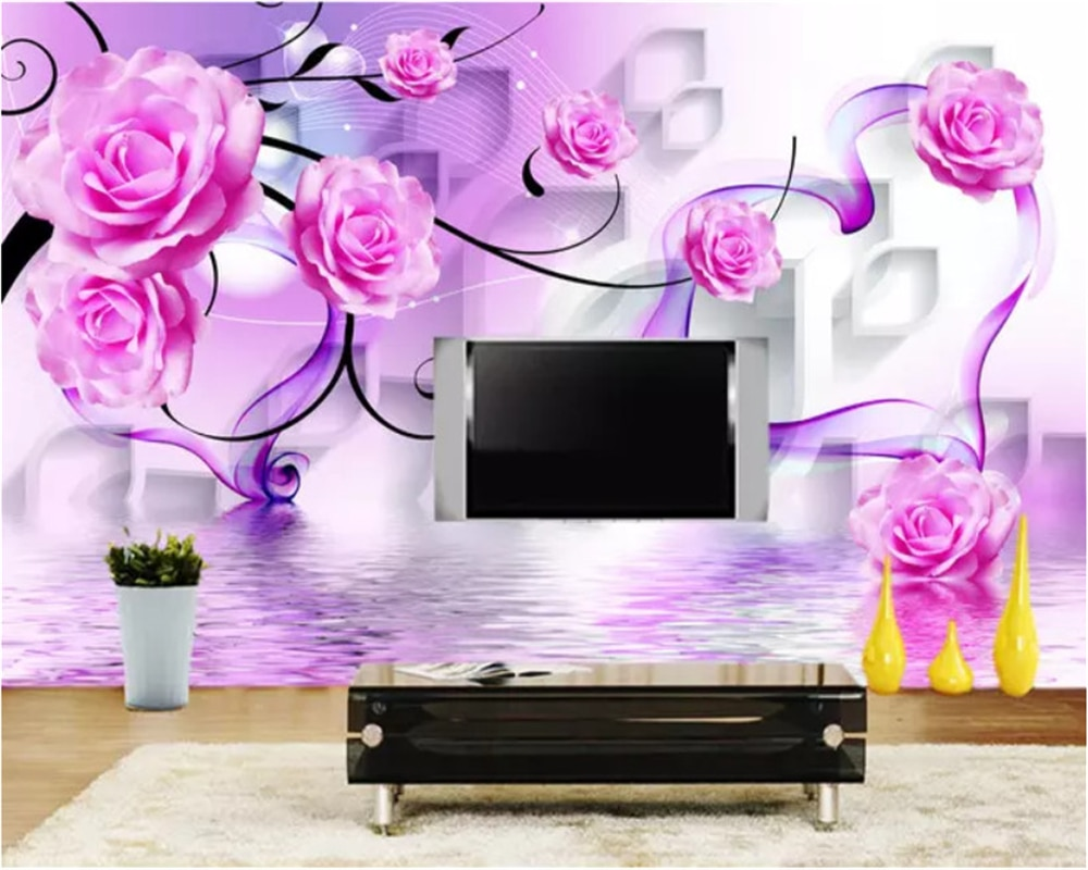 beibehang vinyl wall custom abstract 3d square crystal rose wallpaper tv background wallpaper home decoration papel de parede 3d beibehang Custom size environmental protection wall paper rose reflection 3D diamond TV background papel de parede 3d wallpaper