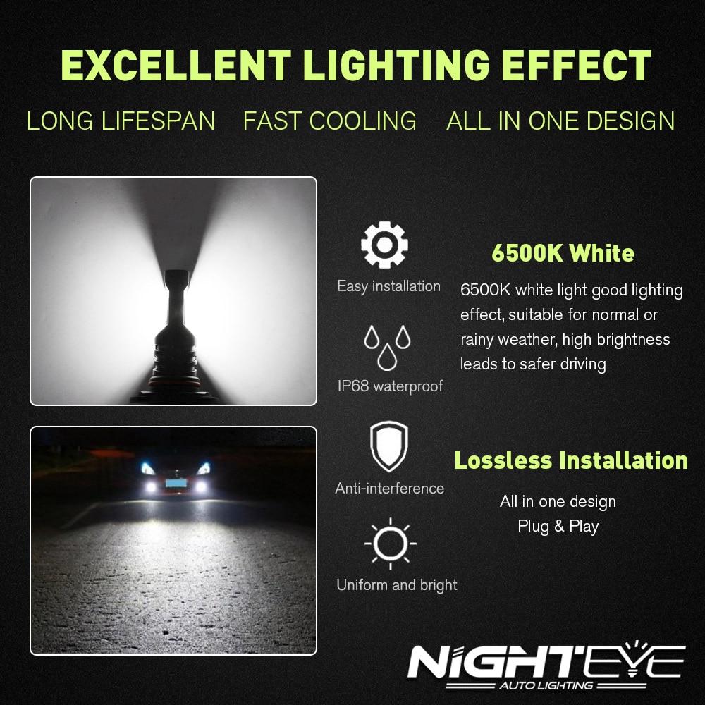 NIGHTEYE Auto Led Headlight 9005/HB3 Fog Light Bulb 1600LM 12V 80W/Set 6500k With CSP LED Chips Bulb  Car Led Light Headlight