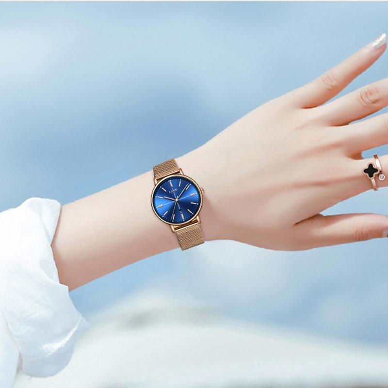 2021 LIGE New Rose Gold Blue Table Womens Business Quartz Watch Ladies Brand Top Luxury Ladies Watch Girl Clock Relogio Feminino enlarge