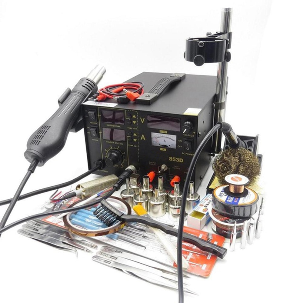 NEW 853D 110V / 220V SMD DC Power Supply Hot Air Gun Soldering Iron Rework Solder Station with the Gift For SMT Welding Repair