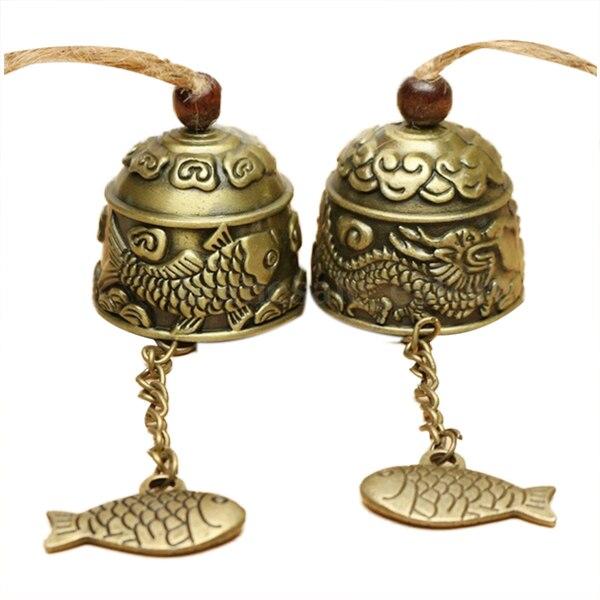 Práctica 1Pc chino tradicional dragón o pescado Feng Shui campana de bendición fortuna colgando campana de viento