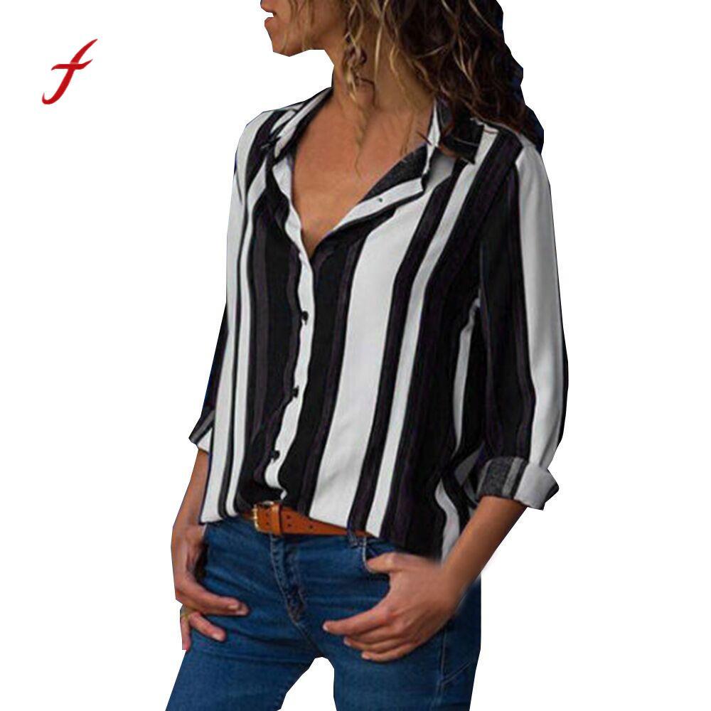 Neue Hohe Qualität Frauen Frühling Herbst Frauen Casual Gefesselt Langarm V-ausschnitt Taste Up Striped Mantel Plus Größe dropshipping