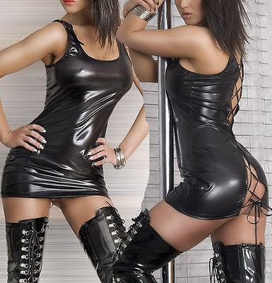 Сексуальное платье из ПВХ, искусственная кожа, Клубное платье, Бандажное мини-платье, женское черное Клубное платье на шнуровке, Клубная оде...