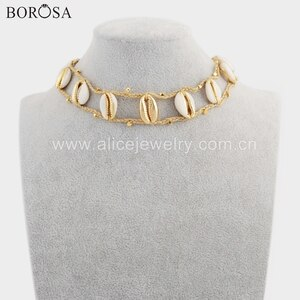 BOROSA 2PCS New Arrival Eleven Gold Color Natural Cowrie Shell Adjustable Rope Choker Shell Necklace Jewelry for Girls HD0020