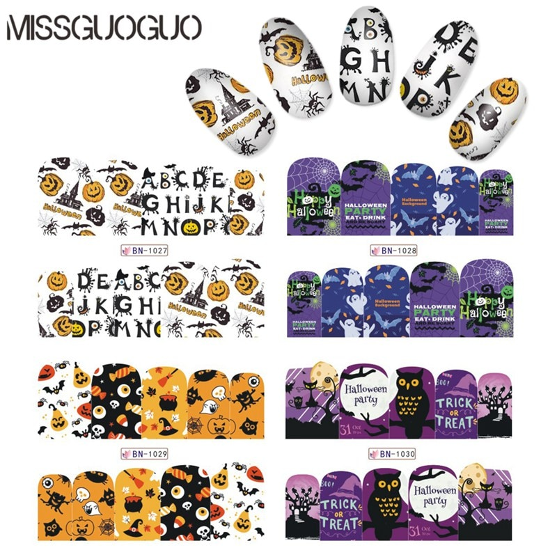 Nail Art Sticker Water Transfer Stickres decals For Halloween series Patterns Nail Water Transfer Stickers Decals New Design