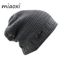 Miaoxi nowy mężczyzn dorosłych moda zima grube ciepła czapka na co dzień w paski kobiety wysokiej jakości 6 kolory dzianiny czapki mężczyzna maski