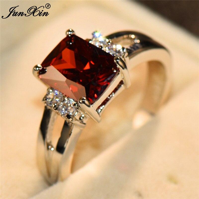 Femenino lindo rojo amarillo anillo de piedra de plata de moda de Color joyería de cristal para bodas promesa anillos de compromiso para las mujeres