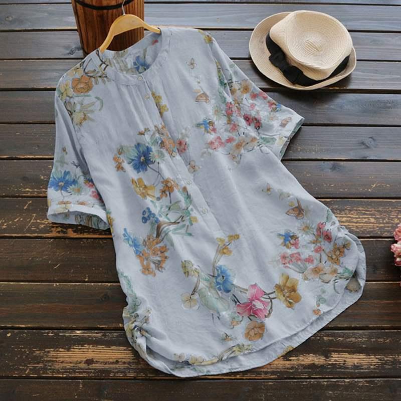 Plus size mulheres vintage floral impresso blusa zanzea verão topos casual manga curta solta camisa trabalho feminino blusões chemise