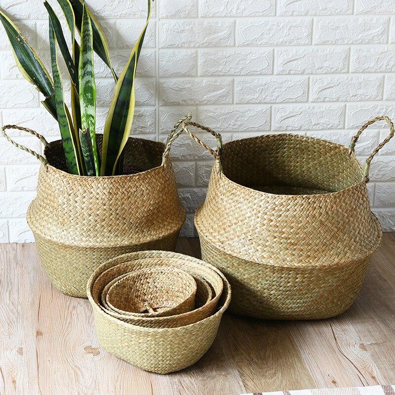Cestas de algas naturales plegables hechas a mano ropa de almacenamiento de mimbre paja tejida de bambú juguete maceta cesta para plantas
