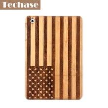 Techase Bambou Conception Tablet Cas Pour iPad Mini 2 Cas Avec Américain drapeau Gravure Logo Pad Couverture Arrière Pour iPad Mini 1 2 3