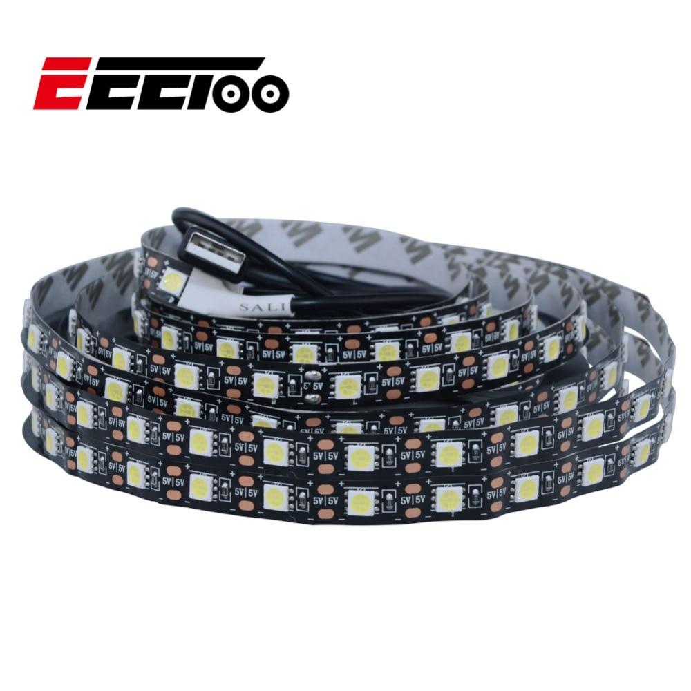 Eeetoo tira de luz de led usb, 5v 5050 smd, led 0.5m 1m 2m 3m à prova dágua fita de diodo flexível luz de fundo para barra de fundo da tv