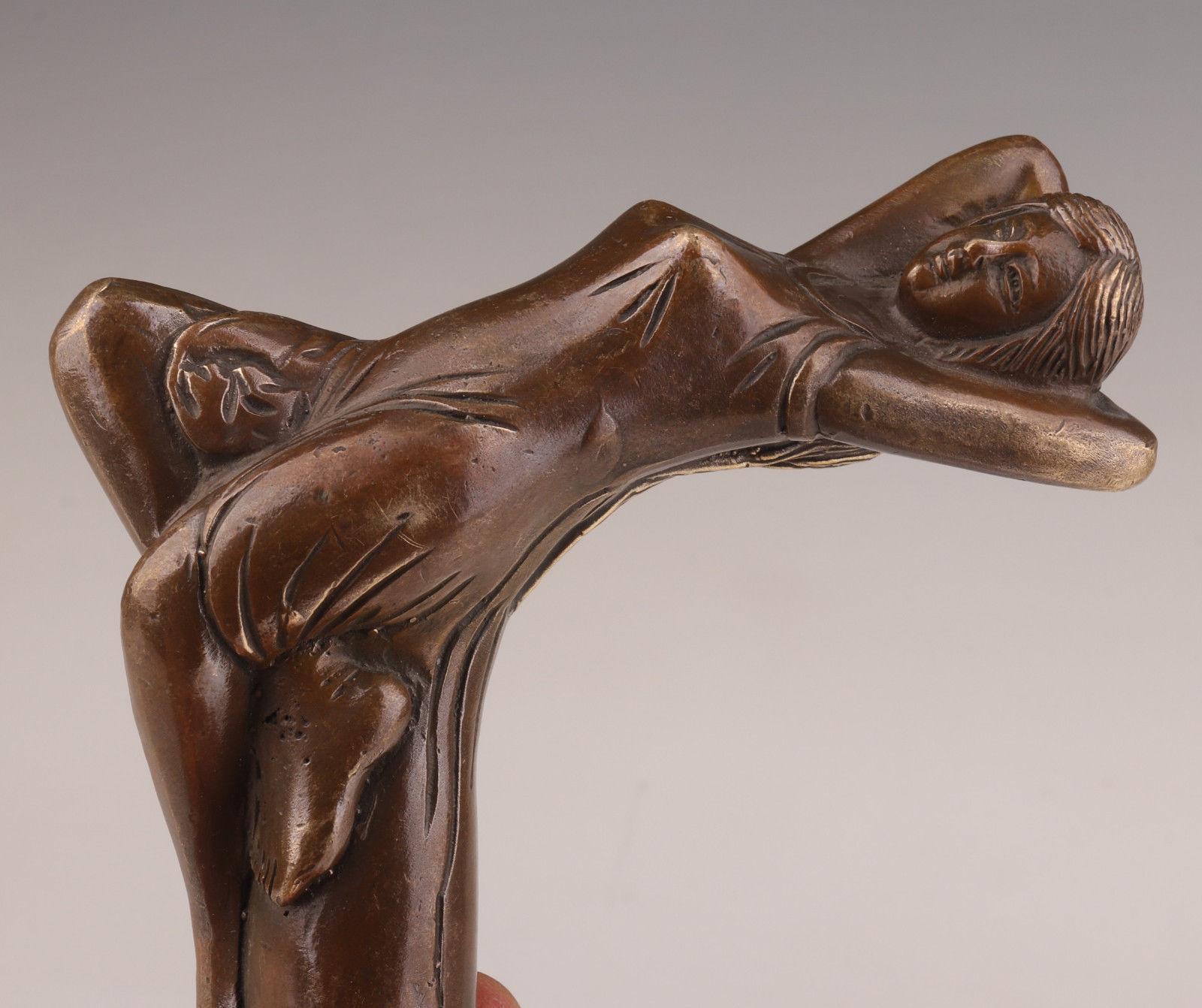 Трость-трость-голова-бронза-литье-женщина-Статуя-аксессуары-коллекционный WA