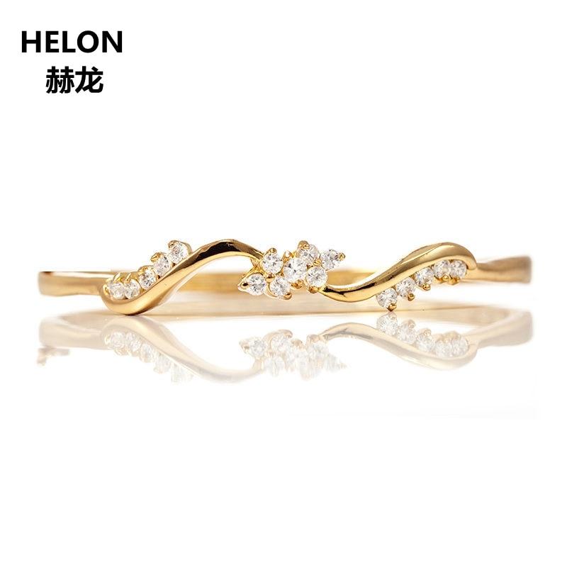 Anillo de diamantes naturales de corte único SI/H, anillo de compromiso de oro amarillo de 14k sólido, anillo de aniversario, regalo de cumpleaños de San Valentín