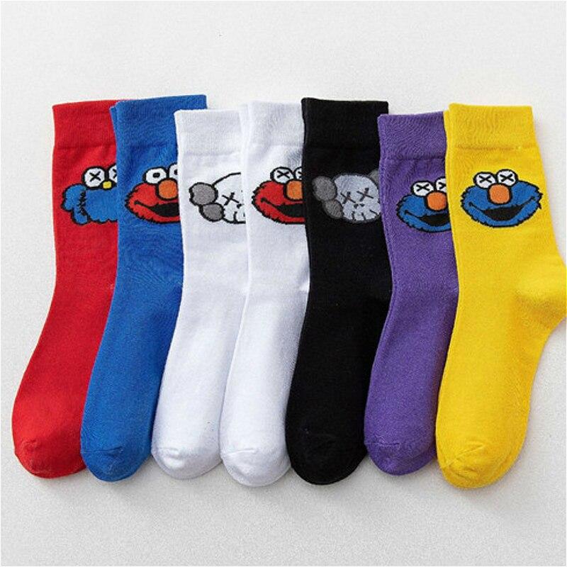 PEONFLY, nuevos calcetines de mujer de invierno de otoño 2019, con dibujos animados de Elmo divertidos calcetines de Barrio Sésamo, calcetines de algodón peinado Harajuku para hombres