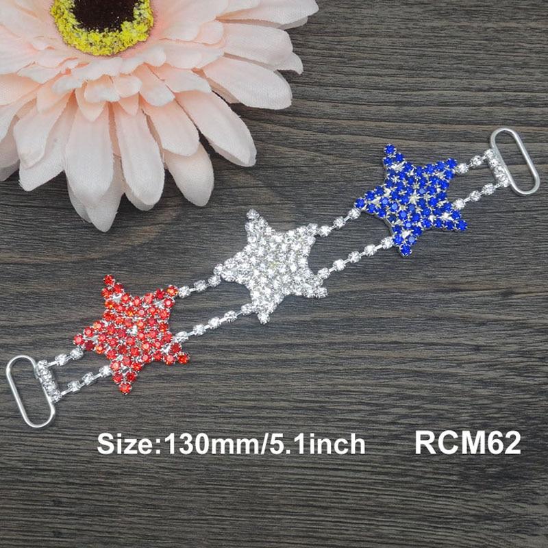 5,1 zoll Juli 4th rot/weiß/blau stern strass stecker Bikini Anschlüsse Kristall anschlüsse 10 stücke RCM62