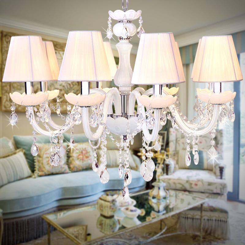 Candelabros de vidrio blanco 6-12 piezas para sala de exposición de comedor luces colgantes de cristal transparente moderno restaurante dormitorio candelabros blancos