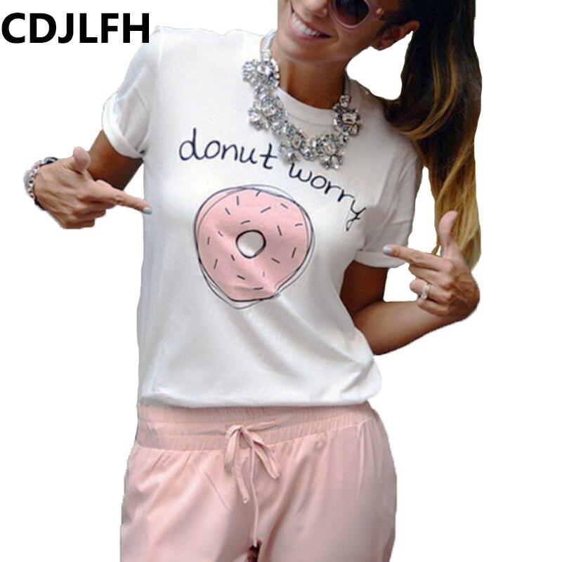 Женская футболка с принтом пончиков, летняя футболка с круглым вырезом, 2019
