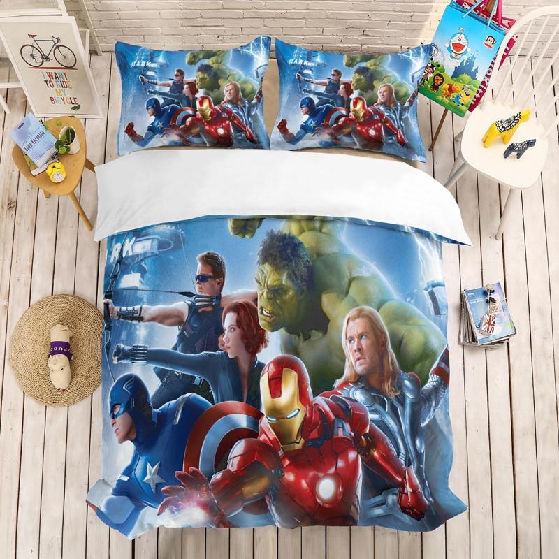 Juego de cama 3D de Los Vengadores de iron Man, superhéroes de Marvel, fundas de almohada, edredón, juego de cama, Capitán Marvel