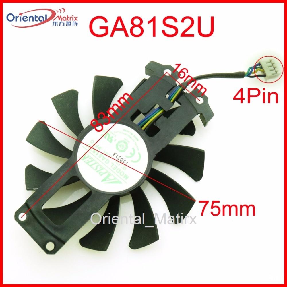 Envío Gratis GA81S2U 12V 0.38A 75mm 4Pin ventilador para gamerock Premium Edition GTX950 GTX960 4G PCI-EDC ventilador de la tarjeta gráfica